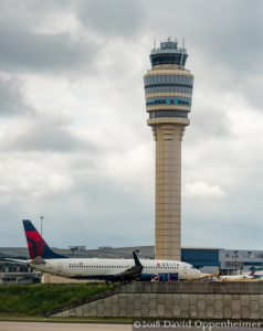 Delta Airline Jet and Control Tower at Hartsfield–Jackson Atlanta International Airport