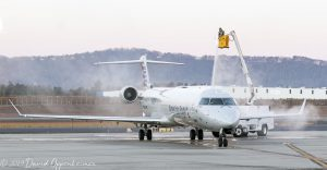 De-icing American Airlines Jet at Asheville Regional Airport