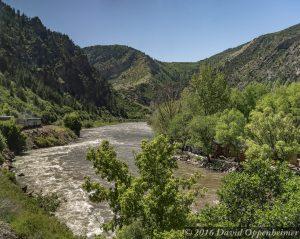 Amtrak Along Colorado River in Glenwood Canyon Colorado