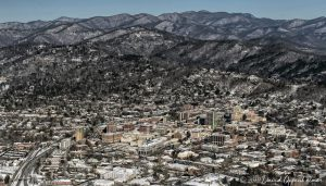 Asheville Downtown and Blue Ridge Mountains Aerial
