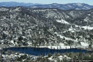 Reynolds Mountain and Beaver Lake in Asheville with Snow Aerial Photo