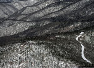 Snow Covered Mountains in Western North Carolina - Aerial Photo