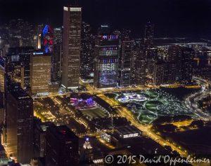 Chicago Night Skyline Aerial Photo