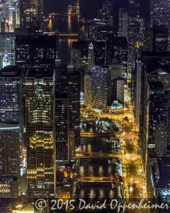 Chicago Night Skyline and Chicago River Aerial Photo