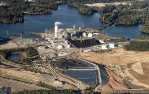 Duke Energy Asheville Plant - Coal Burning Power Plant at Lake Julian Aerial