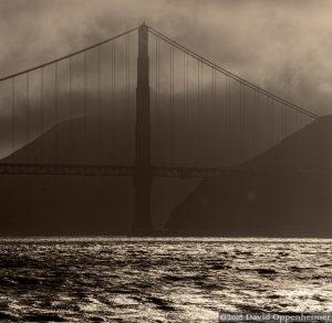 Golden Gate Bridge in the Fog, Black and White, San Francisco, California