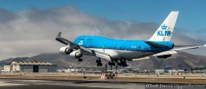 KLM Royal Dutch Airlines Boeing 747 Airplane Landing at San Francisco Airport in San Francisco, California