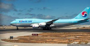 Korean Air Boeing 747 Airplane at San Francisco Airport in San Francisco, California