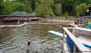 Diving into Lake at LEAF Festival in Black Mountain