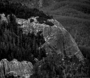 Ice on Cliffs in Black and White - Looking Glass Rock Aerial Photo