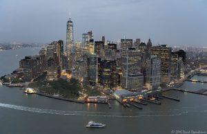 Lower Manhattan Skyline at Night Aerial View in New York City
