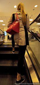 Lady Shopping on Escalator at Macy's San Francisco