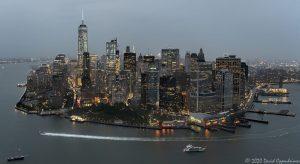 Manhattan - Skyline of New York City Night Aerial View