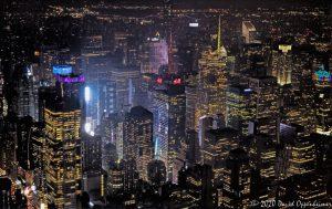 Midtown Manhattan Skyline at Night Aerial View