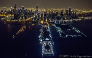 Navy Pier in Chicago Aerial Photo at Night