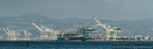 Evergreen Freight Ship and Cargo in Port of Oakland, California