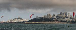 San Francisco Skyline with Kiteboarders