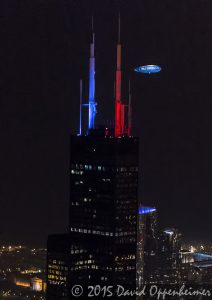 Willis Tower at Night - Chicago Aerial Photo