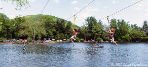 Zipline into Lake at LEAF Festival in Black Mountain